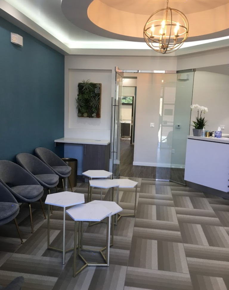 Illustration of Orange County fertility clinic, Reproductive Health and Wellness front desk and waiting room
